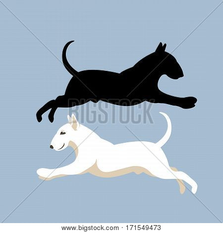 bull terrier vector illustration style Flat silhouette black