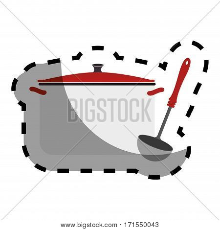 color sticker with pans and soup ladle vector illustration