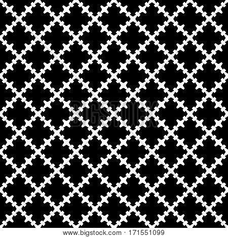 Vector monochrome seamless pattern. Abstract black & white texture with curved geometric shapes, barbed figures. Repeat tiles. Endless dark ornamental background, gothic style. Design for decoration, print, textile, fabric, cloth, wrapping
