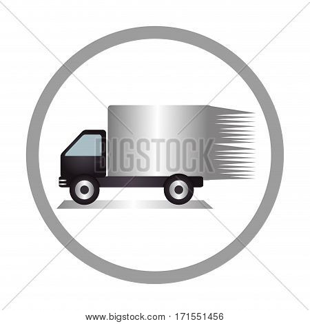 circular emblem of truck with wagon vector illustration