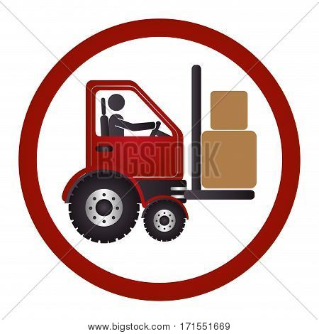 circular emblem with forklift truck with forks vector illustration