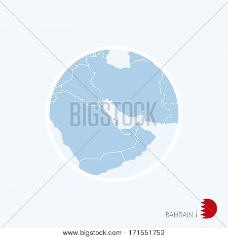 Map Icon Of Bahrain. Blue Map Of Middle East With Highlighted Bahrain In Red Color.