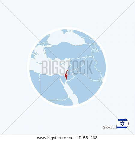 Map Icon Of Israel. Blue Map Of Middle East With Highlighted Israel In Red Color.