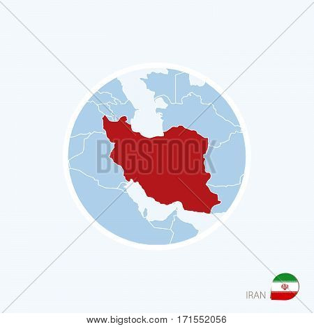 Map Icon Of Iran. Blue Map Of Middle East With Highlighted Iran In Red Color.