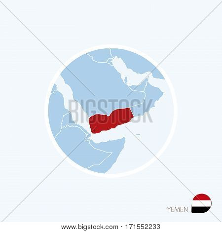 Map Icon Of Yemen. Blue Map Of Middle East With Highlighted Yemen In Red Color.