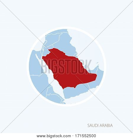 Map Icon Of United Arab Emirates. Blue Map Of Middle East With Highlighted Uae In Red Color.