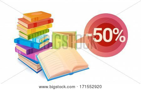 Shopping Sale Books Stack Education Concept Flat Vector Illustration