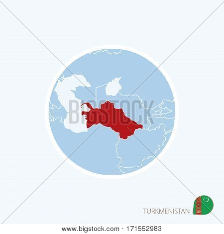 Map Icon Of Turkmenistan. Blue Map Of Asia With Highlighted Turkmenistan In Red Color.