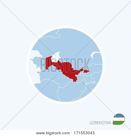 Map Icon Of Uzbekistan. Blue Map Of Asia With Highlighted Uzbekistan In Red Color.