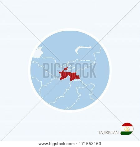 Map Icon Of Tajikistan. Blue Map Of Asia With Highlighted Tajikistan In Red Color.