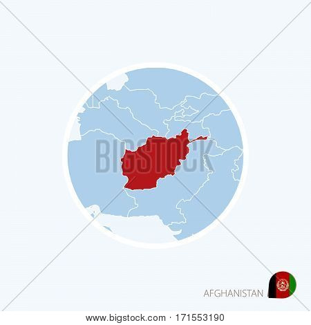 Map Icon Of Afghanistan. Blue Map Of South Asia With Highlighted Afghanistan In Red Color.
