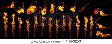 Fire flames collection design elements isolated on black