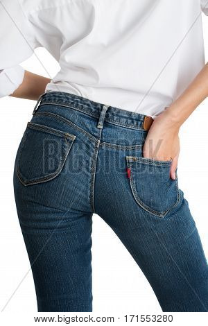 asian women posing in blue jeans and white shirt with back side isolated on white background.