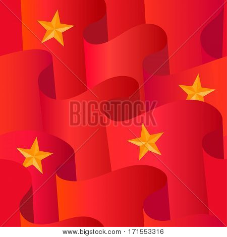 Seamless pattern of red flags and gold stars. The concept of revolution, socialism and communism.