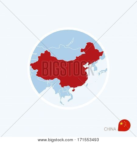 Map Icon Of China. Blue Map Of East Asia With Highlighted China In Red Color.
