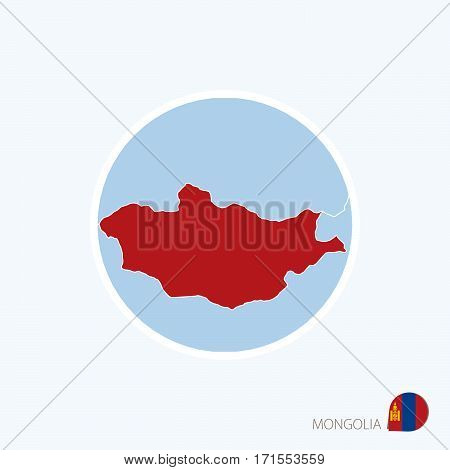 Map Icon Of Mongolia. Blue Map Of East Asia With Highlighted Mongolia In Red Color.