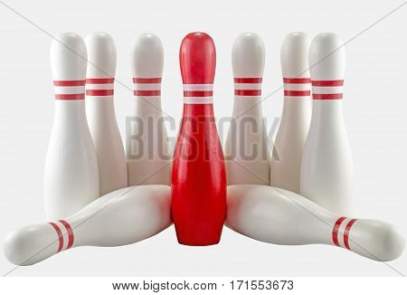 White And Red Bowling Pins On White Background