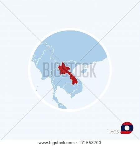 Map Icon Of Laos Blue Map Of Southeast Asia With Highlighted Laos In Red Color.