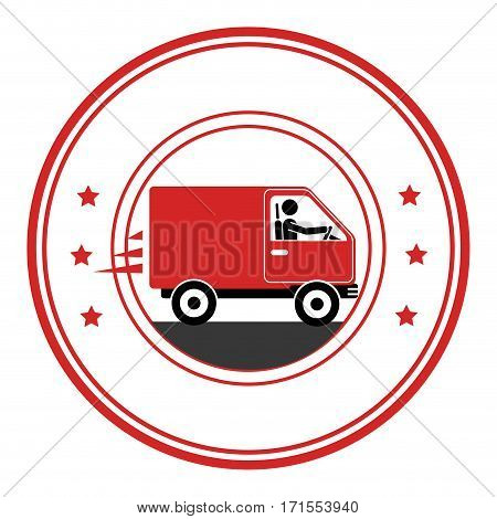 circle emblem of truck with wagon vector illustration