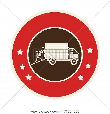 circular frame of truck with wagon vector illustration