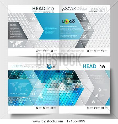 Business templates for square design brochure, magazine, flyer, booklet or annual report. Leaflet cover, abstract flat layout, easy editable blank. Abstract triangles, blue and gray triangular background, modern polygonal vector.