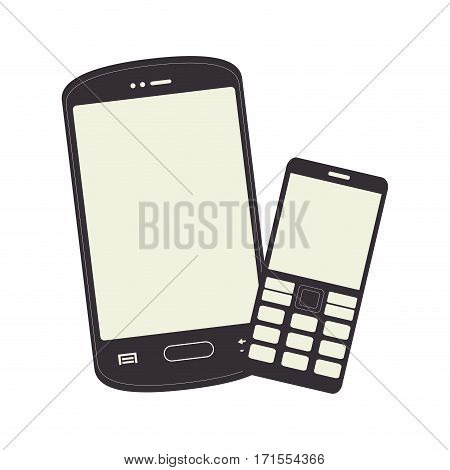 monochrome silhouette with smartphone and cellphone vector illustration