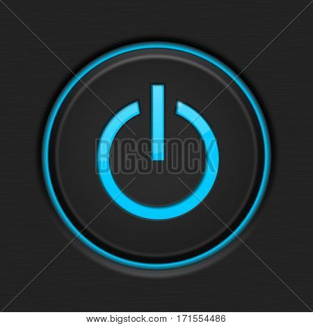 Power button. Black plastic element with blue backlight. Vector illustration