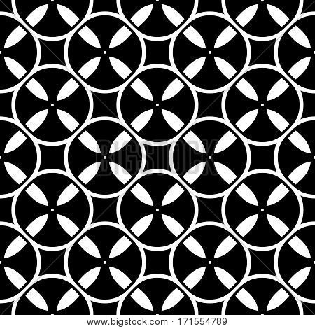 Vector monochrome seamless pattern. Simple black & white repeat geometric texture. Illustration of tapes, spools. Abstract dark endless background, repeating tiles. Design for decoration, prints, textile, fabric, cloth