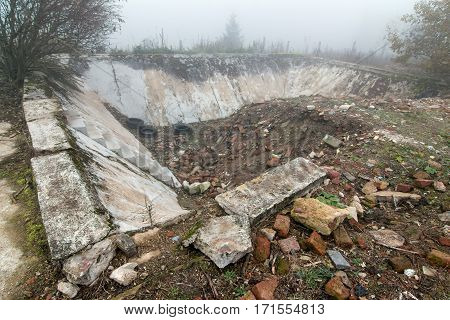 Ruins of the swimming pool - total destruction