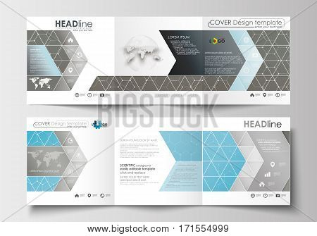 Set of business templates for tri-fold brochures. Square design. Leaflet cover, abstract flat layout, easy editable blank. Scientific medical research, chemistry pattern, hexagonal design molecule structure, science vector background.