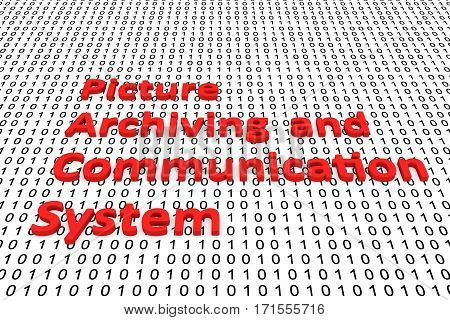 picture archiving and communication system in the form of binary code, 3D illustration