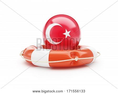 Lifebelt with Turkey flag help on a white background 3D illustration