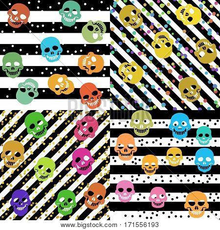 Set of seamless striped pattern with confetti and skulls.
