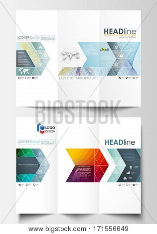 Tri-fold brochure business templates on both sides. Easy editable layout in flat style, vector illustration. Colorful design background with abstract shapes and waves, overlap effect