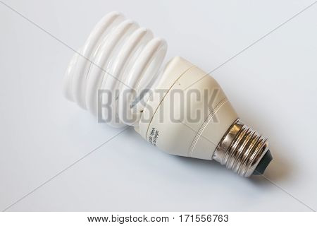 Energy saving light bulbs in gray background