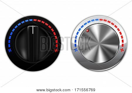 Air temperature switch knob button. Vector illustration isolated on white background