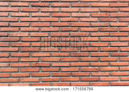 Old red brick wall pattern in horizontal