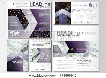 Social media posts set. Business templates. Cover template, easy editable flat layout in popular formats, vector illustration. Abstract waves, lines and curves. Dark color background. Motion design