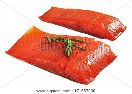 Two Pieces Of Salmon Fish  Isolated On White
