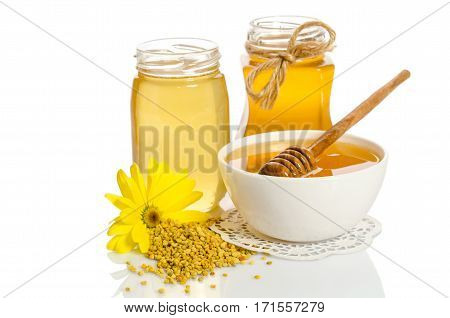 Yellow Flower And Bee Products (honey, Pollen) Isolated On White Background