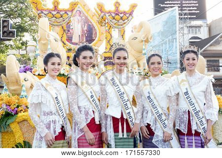 CHIANG MAI THAILAND-FEBRUARY 04: Miss Chiangmai 2017 at flowers decorate car in annual 41th Chiang Mai Flower Festival on February 04 2017 in Chiang Mai Thailand.