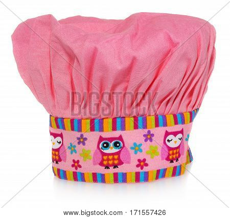 Pink cooking hat with multi-colored pattern hearts flowers and owls. The pattern on the cap in the colors yellow orange red blue purple. Chef cap on a white background with slight reflection.