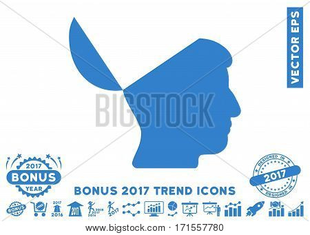 Cobalt Open Mind pictograph with bonus 2017 year trend images. Vector illustration style is flat iconic symbols white background.