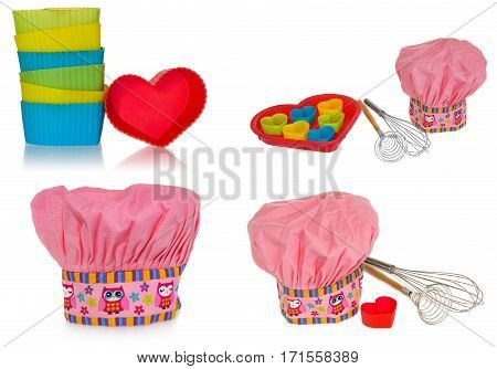 Pink cooking hat, with multi-colored pattern, hearts, flowers and owls. Hearts molds for cookies in red. Whisk to froth and the egg whisk with wooden handles. The pattern on the cap in the colors yellow, orange, red, blue, purple. Chef cap on a white back
