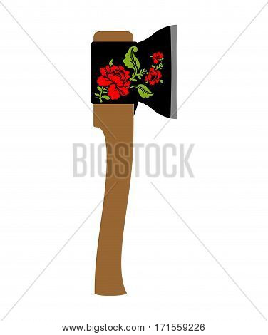 Russian Ax. National Folk Tool In Russia. Axe And Wooden Handle Khokhloma Painting