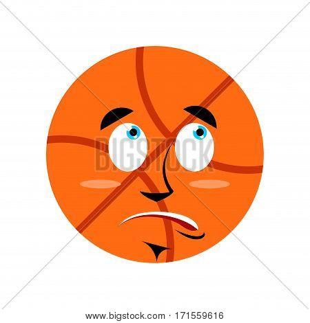 Basketball Surprised Emoji. Ball Astonished Emotion Isolated