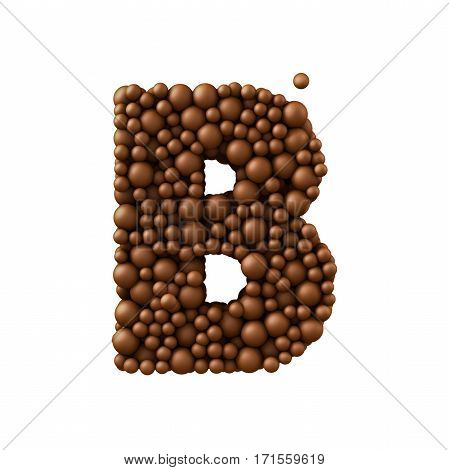 Letter B made of chocolate bubbles milk chocolate concept 3d render.