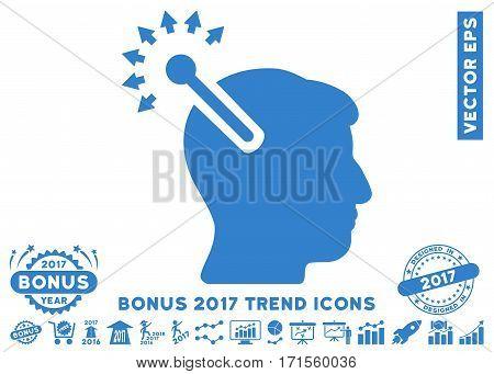 Cobalt Optical Neural Interface icon with bonus 2017 year trend icon set. Vector illustration style is flat iconic symbols white background.