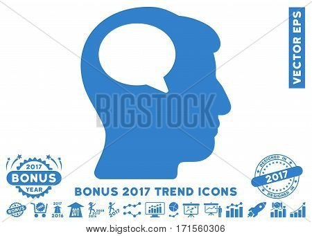 Cobalt Person Thinking pictogram with bonus 2017 year trend images. Vector illustration style is flat iconic symbols white background.