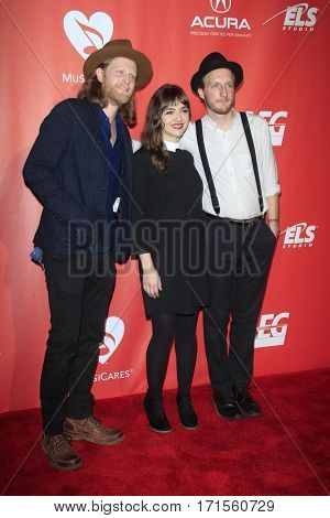 LOS ANGELES - FEB 10:  The Lumineers, Wesley Schultz, Neyla Pekarek, Jeremiah Caleb Fraites at the Musicares Gala at Los Angeles Convention Center on February 10, 2017 in Los Angeles, CA